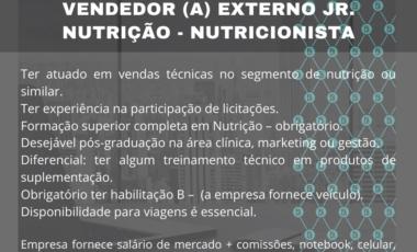 <span class='p-name'>Vaga de Vendas Externas Jr. em Nutrição – Nutricionista Vendedor</span>